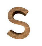Realistic Wooden letter S isolated on white background. Wood letter, Alphabetic character Stock Images