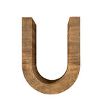 Realistic Wooden letter U isolated on white background. Wood letter, Alphabetic character Royalty Free Stock Photo
