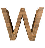 Realistic Wooden letter W isolated on white background. Wood letter, Alphabetic character Royalty Free Stock Photos