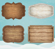 4 realistic wooden signs set. Decoration elements for christmas. Vintage style. Vector Stock Photo