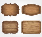 4 realistic wooden signs set. Decoration elements. Vintage style. Vector Royalty Free Stock Photo