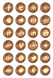 Realistic wooden social media icons Stock Image