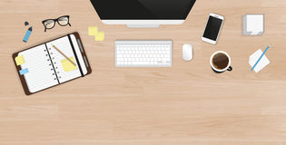 Realistic work desk organization top view  Stock Image