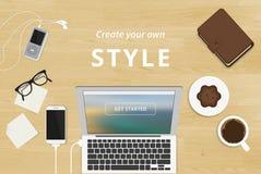 Realistic workplace organization Royalty Free Stock Image