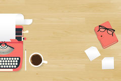 Realistic workplace. Organization. Top view with textured table, typewriter, stickers, glasses, diary and coffee mug