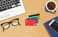Realistic workplace with three credit cards concept of online payment and shopping Royalty Free Stock Image