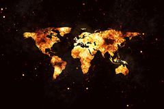 World Map Realistic Burning Fire Flames on Black. Realistic world map burning fire flames with sparks and smoke, explosion effect on black background Stock Photos