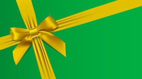 Realistic yellow bow on a green background. Vector illustration Royalty Free Stock Photo