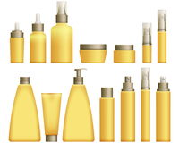 Realistic yellow Cosmetics bottles. Set on white background. Cosmetic cream containers and tubes for cream, lotion and shampoo, gel and balsam in yellow colors Royalty Free Stock Image