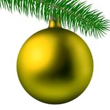 Realistic yellow matte Christmas ball or bauble with fir branch isolated on white background. Vector illustration. Vector realistic illustration yellow matte Stock Photo