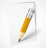 Realistic yellow pencil with paper Stock Photos