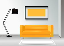 Realistic yellow sofa with floor lamp, carpet and photoframe on the wall. Interior illustration.Furniture Design Concept. Stock Photos