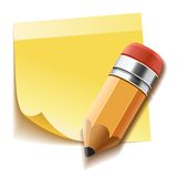 Realistic yellow stick note and pencil Royalty Free Stock Images