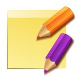 Realistic yellow stick note and two color pencils Stock Photo