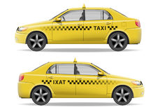 Realistic yellow Taxi car. Car mockup isolated on white. Taxi vector illustration Royalty Free Stock Images