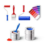 Realistick set of paint tools Royalty Free Stock Photography