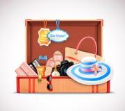 Realistico aperto dei retro della valigia bagagli di vacanza Fotografia Stock Libera da Diritti
