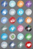Realistico rifletta le icone sociali di media Fotografia Stock Libera da Diritti