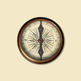 Realistisch beeld van wijnoogst geïsoleerd kompas Illustratie Vector Illustratie