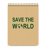 Realistisch bereiten Sie Brown-Abdeckungs-Notizblock auf und speichern Sie die Weltikone stock abbildung