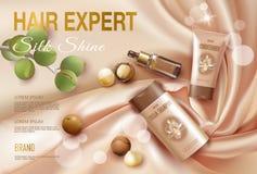 Realistisch 3d macadamia kosmetisch de advertentiemalplaatje van de nootolie Licht gouden van de het haarshampoo van de zijdestof Stock Afbeelding