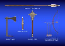 Realistisch 3d Vastgesteld Brons het vechten wapen royalty-vrije illustratie