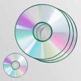 Realistisch die CD-schijf achtereind, op de achtergrond wordt geïsoleerd Stock Foto