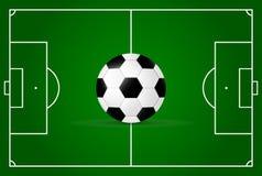Realistisch, Fußballplatz und Fußball vektor abbildung