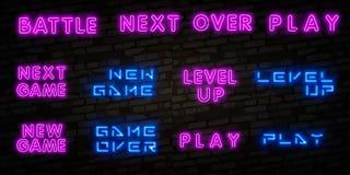 Realistisch geïsoleerd neonteken van Nieuw Spel, Niveau omhoog en Spel over, Slagembleem voor malplaatjedecoratie en het behandel vector illustratie