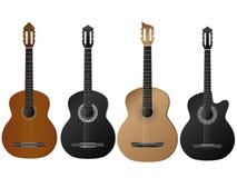 Realistisch geïsoleerdh vectorsoort vier gitaar Royalty-vrije Stock Afbeelding