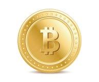Realistisch gouden geïsoleerd bitcoin muntstuk vooraanzicht Royalty-vrije Stock Foto