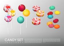 Realistisch Helder Rond Geplaatst Suikergoed vector illustratie