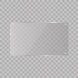 Realistisch horizontaal transparant glaskader met schaduw op transparante achtergrond Vector illustratie stock fotografie