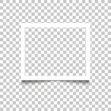 Realistisch leeg wit fotokader met schaduw op transparante achtergrond Vector van het het kadermalplaatje van de illustratie retr stock foto's