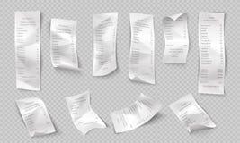 Realistisch ontvangstbewijs ATM-document controle, winkel en supermarktbetaling, inkoopfactuur, restaurantrekening Vectorbank vector illustratie