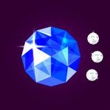 Realistisch saffierjuweel gem Vector illustratie royalty-vrije stock afbeeldingen