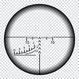 Realistisch sluipschuttergezicht met metingstekens Het malplaatje van het sluipschutterwerkingsgebied op transparante achtergrond vector illustratie