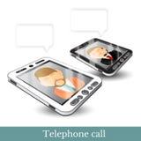Realistisch twee Smartphone telefoongadget zwart-wit met het contacteren van de mens Royalty-vrije Stock Afbeeldingen