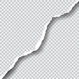 Realistisch vector gescheurd document met ruimte voor uw tekst op transp stock foto