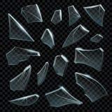 Realistisch verbrijzeld glas Transparante gebroken stukken van gebarsten glas Duidelijke splintersvormen en verbrijzelde fragment royalty-vrije illustratie