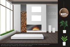 Realistisch Woonkamer Binnenlands Concept vector illustratie