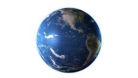 Realistische Aarde die op het Witte Scherm, 4K roteren Hoog gedetailleerde textuur stock illustratie