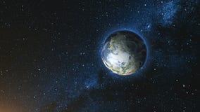 Realistische Aardeplaneet tegen de sterhemel Stock Afbeelding