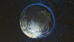 Realistische Aardeplaneet tegen de sterhemel Royalty-vrije Stock Afbeelding