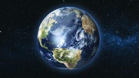 Realistische Aardeplaneet tegen de sterhemel Royalty-vrije Stock Afbeeldingen