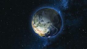 Realistische Aardeplaneet tegen de sterhemel Royalty-vrije Stock Fotografie