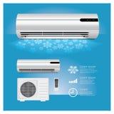 Realistische Airconditioner en Afstandsbediening met Koude Stock Foto
