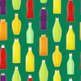 Realistische ausführliche 3d verschiedene Arten Juice Bottle Glass Seamless Pattern-Hintergrund Vektor vektor abbildung