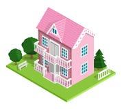 realistische ausführliche isometrische rosa Ikone des Hauses 3d mit Bäumen, Bank und Zaun Vektorillustration lokalisiert auf Weiß Lizenzfreie Stockbilder
