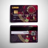 Realistische ausführliche Kreditdebitkarte mit abstraktem geometrischem ausführlichem Design Lizenzfreie Abbildung
